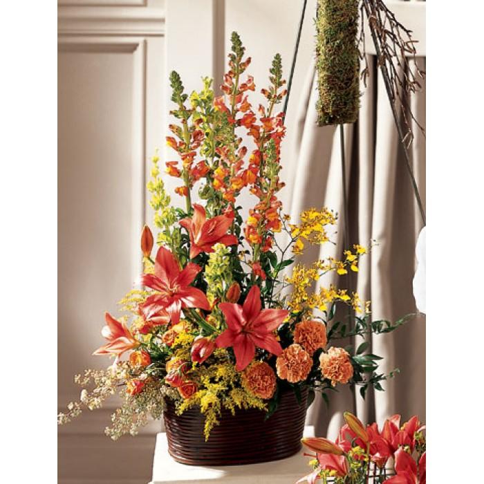 Orangeyellow Red Flowers Arrangement Send To Philippines